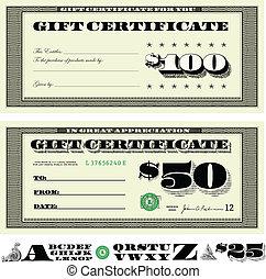 geld, vektor, satz, geschenk bescheinigung