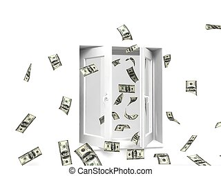 geld, venster, uit