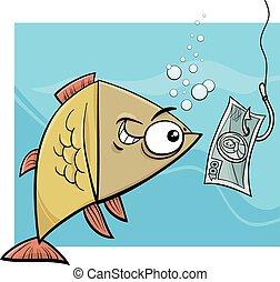 geld, visserij, illustratie, spotprent