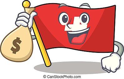 geld, vlag, zak, vorm, zwitserland, mascotte