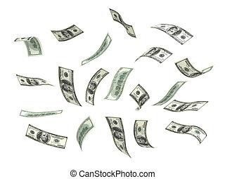 geld, vliegen, (dollar)