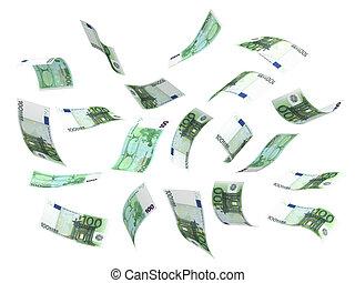 geld, vliegen, (euro)