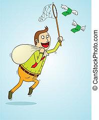geld, vliegen, pakkend, man