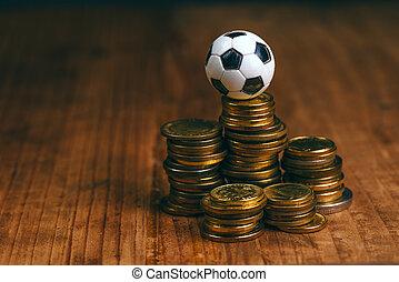 geld, voetbal, concept, weddenschap, voetbal