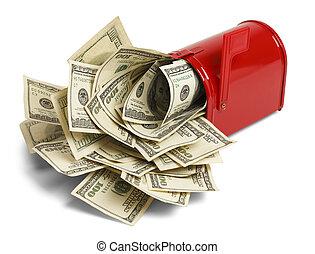 geld, volgestopt, brievenbus