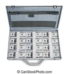 geld, volle, aktentas