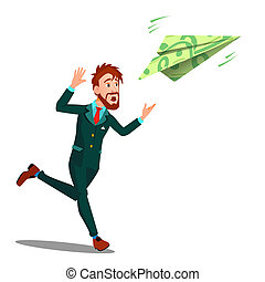 geld, weg, fliegendes, freigestellt, abbildung, rennender , vector., geschäftsmann