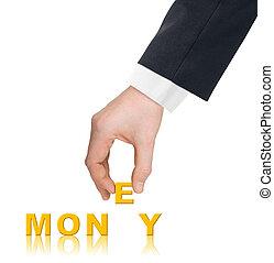 geld, woord, hand