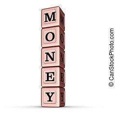 geld, woord, teken., verticaal, stapel, van, roos, goud, metalen, speelbal, blocks.