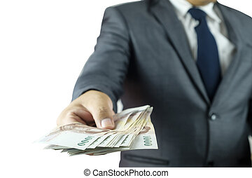 geld, zakelijk, vasthouden, man