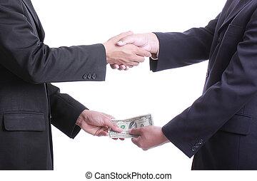 geld, zakenman, corruptie, iets, geven