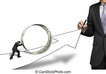 geld, zakenman, groeiende, tekening, achtergrond, informatietechnologie, voortvarend, een ander, cirkel, richtingwijzer, witte