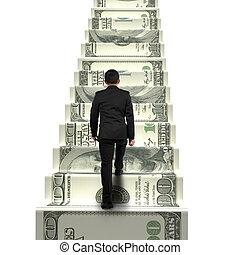 geld, zakenman, wandelende, achterk bezichtiging, trap
