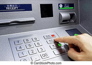 geldautomat, -, eintragen, stift