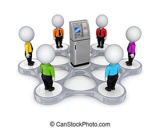geldautomat, leute, ungefähr, 3d, klein