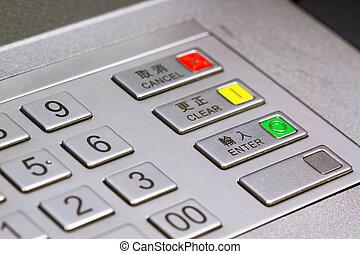 geldautomat, tastenfeld