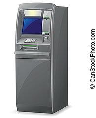 geldautomat, vektor, abbildung