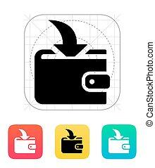 geldbörse, ankommend, zahlung, ikone