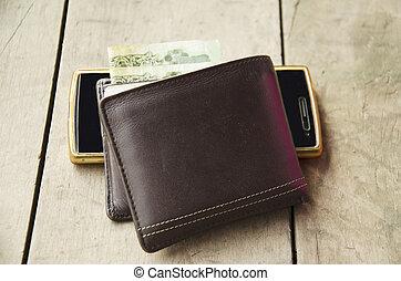geldbörse, gemacht, von, leder, mit, klug, telefon