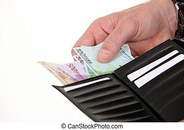 geldbörse, hunderte, mann, euros
