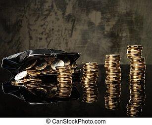geldbeutel, mit, los, von, euromünzen