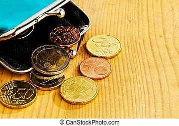 geldbeutel, mit, münzen., schuld, und, armut