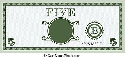 geldbiljet, vijf, image.