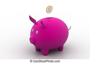 geldmünzen, dollar, spaardose