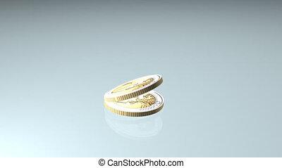 geldmünzen, euro, fallender