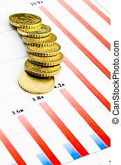 geldmünzen, finanzielles diagramm