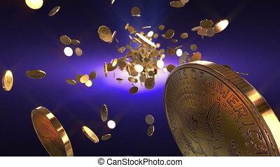 geldmünzen, flug, loopable, hintergrund.