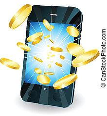 geldmünzen, gold, beweglich, fliegendes, telefon, klug, heraus