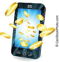 geldmünzen, gold, beweglich, fliegendes, telefon, klug, ...