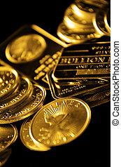 geldmünzen, goldbarren, reichtum, gold
