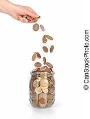 geldmünzen, krug, freigestellt, hand, glas, fallender , ...