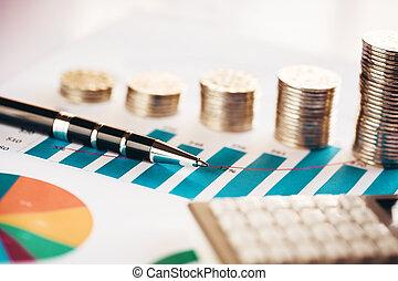 geldmünzen, mit, finanzielles diagramm, kugelschreiber, taschenrechner