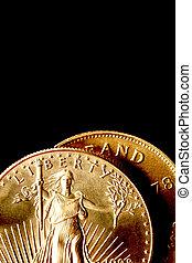 geldmünzen, schwarz, gold, hintergrund