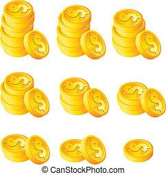 geldmünzen, stapel, gold