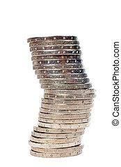geldmünzen, stapel