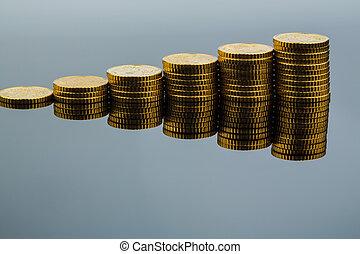 geldmünzen, tendenz, gestapelt, aufwärts