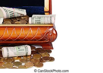 geldmünzen, und, banknoten, in, kasten