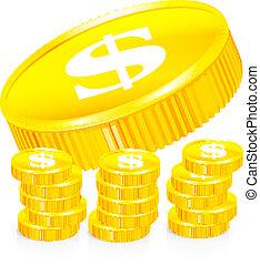 geldmünzen, vektor, stapel, gold