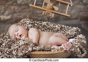 geldstrafe, bild, von, baby, eingeschlafen, in, spielzeug,...