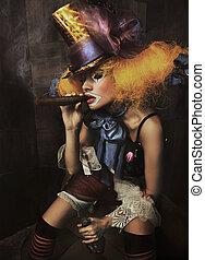 geldstrafe, foto, schlechte, kunst, clown
