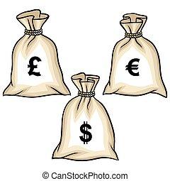 geldtaschen, mit, dollar, euro, und, pound., vektor