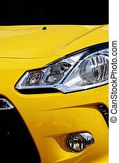 gele auto, koplamp