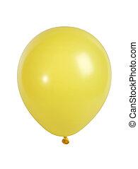 gele, balloon, vrijstaand, op wit