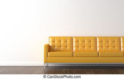 gele bank, op wit, muur