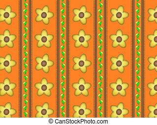 gele, behang, bloemen, sinaasappel