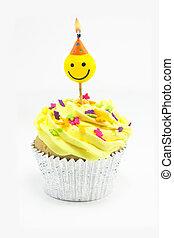 gele, cupcake, en, smiley, kaarsje